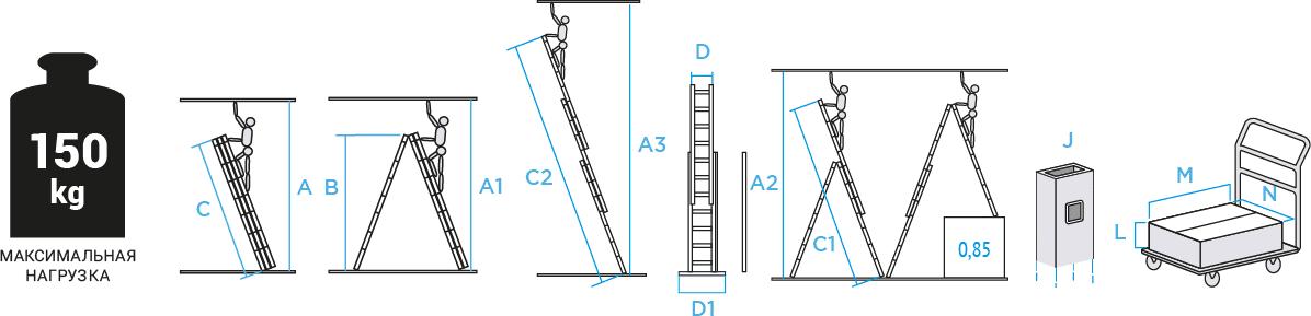 Схема: Лестница алюминиевая трёхсекционная NV123